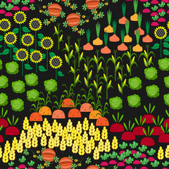 Fields Seamless Pattern. Cartoon farming landscape.