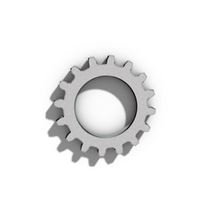 Metallic cogwheel on white background.
