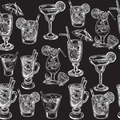 hand drawn sketch illustration cocteils seamless pattern on the