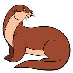 Cartoon animals. Little cute otter smiles.