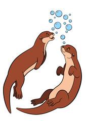 Cartoon animals. Two little cute otters swim.