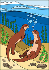 Cartoon animals. Two little cute otters swim in the river.