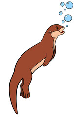 Cartoon animals. Little cute otter swims.