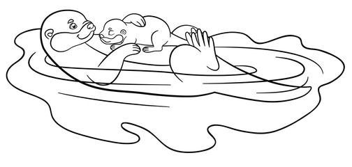 Coloring pages. Mother otter swims with her cute baby.