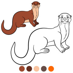 Coloring page. Little cute otter smiles.
