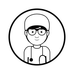 cartoon avatar man medical doctor with surgery clothes and stethoscope tool. professional medical occupation over white background. vector illustration