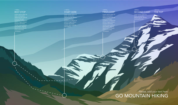 High mountain landscape infographic. Hiking trail in national park. Wilderness. Spectacular view. Web banner. Vector illustration