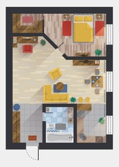 Apartment or flat, house, floor plan top view