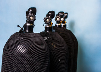Oxygen tanks prepared for the scuba diving Wall mural