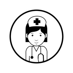 silhouette avatar woman smiling medical nurse professional over white background. vector illustration