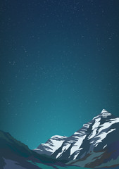 High mountains and calm clear sky with billion stars. Spectacular view. Blue glow Poster or banner. Modern realistic design. Vector illustration