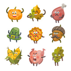 Vector illustration emoticons emoji set on theme of autumn holiday. Autumn emoticons happy thanksgiving day. Different emotions funny pumpkin, leaf, turkey, sweet pie, angry hat, corn, acorn