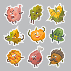 Vector illustration emoticons emoji stickers set on theme of autumn holiday. Autumn emoticons happy thanksgiving day. Different emotions funny pumpkin, leaf, turkey, sweet pie, angry hat, corn, acorn