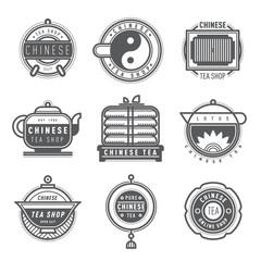 Label for Chinese tea shop monogram logo design. Vector tea shop sign monogram and Chinese shop symbol logo badge. Retro drink tea monogram business menu badge shop sticker icon