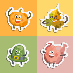 Vector illustration emoticons emoji stickers set on theme of autumn holiday. Autumn emoticons happy thanksgiving day. Different emotions funny pumpkin, delicious ham, sweet pie, brave acorn
