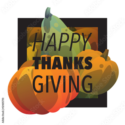 Happy Thanksgiving Day Postcard Template With Pumpkin Modern Cartoon Style Gradient Autumn Holiday Season Harvest Orange And Green