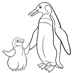 Coloring pages. Mother penguin with her cute baby.