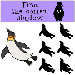 Educational game: Find the correct shadow. Little cute penguin s