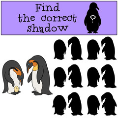 Educational game: Find the correct shadow. Two cute penguins.