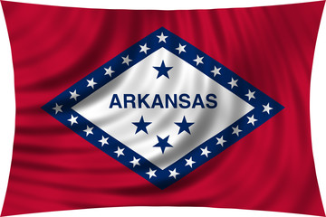 Flag of the US state of Arkansas waving isolated on white