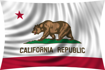 Flag of the US state of California waving isolated on white