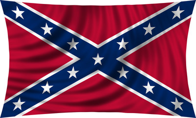 Historical symbol of the Confederate States of America. Confederate rebel flag waving isolated on white