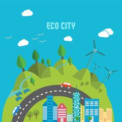 Eco-city, green energy, wild nature concept.Solar panels.