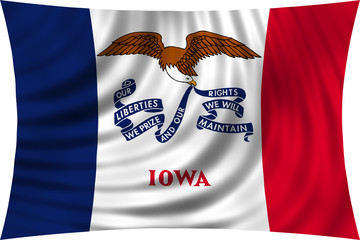 Flag of the US state of Iowa waving isolated on white