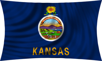 Flag of the US state of Kansas waving isolated on white