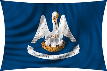Flag of the US state of Louisiana waving isolated on white