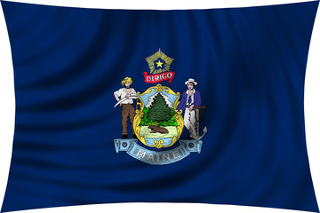 Flag of the US state of Maine waving isolated on white