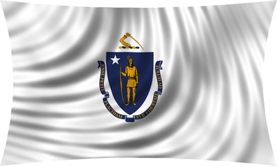 Flag of the US state of Massachusetts waving isolated on white