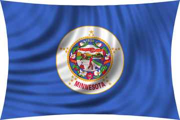 Flag of the US state of Minnesota waving isolated on white