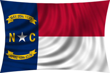 Flag of the US state of North Carolina waving isolated on white
