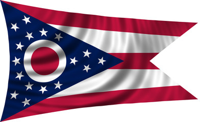 Flag of the US state of Ohio waving isolated on white