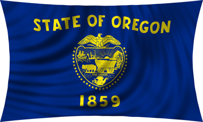 Flag of the US state of Oregon waving isolated on white