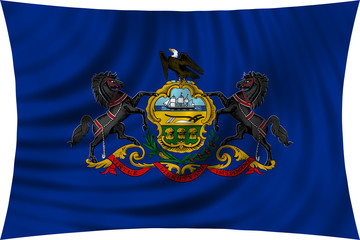 Flag of the US state of Pennsylvania waving isolated on white