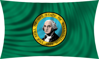 Flag of the US state of Washington waving isolated on white