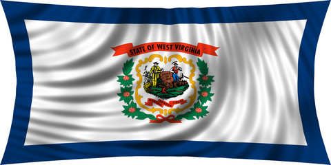 Flag of the US state of West Virginia waving isolated on white