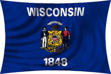 Flag of the US state of Wisconsin waving isolated on white