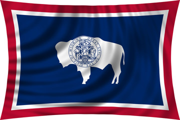 Flag of the US state of Wyoming waving isolated on white