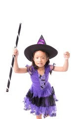 Little halloween witch girl costume isolated on white background