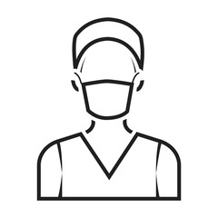 Nurse icon in black style isolated on white background. Medicine and hospital symbol stock vector illustration.