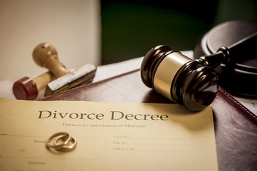 Divorce decree and wooden gavel