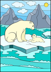 Cartoon animals. Mother bearwith her little cute baby.