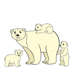 Cartoon animals. Mother polar bear with her babies.