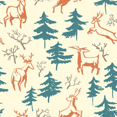 Hand drawn winter seamless pattern with deer and pine trees