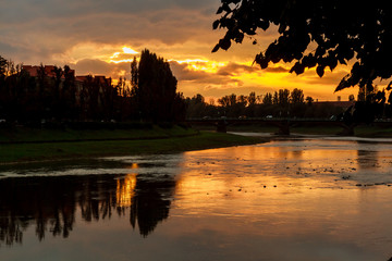 river bank sunsetsunset on the background of the  uzgorod