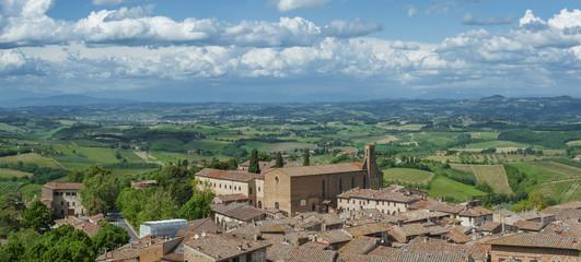 Fototapete - Panorama of San Gimignano Medieval Village, Tuscany, Italy, Europe