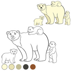 Coloring page. Mother polar bear with her cute babies.